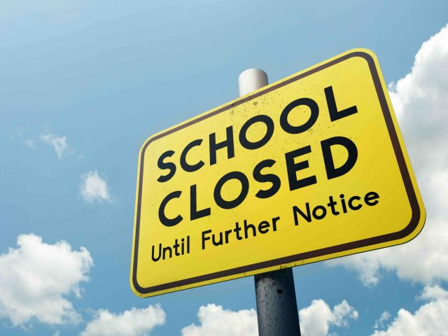An illustration of school closure, as took place in Woodland, California schools in March 2020.