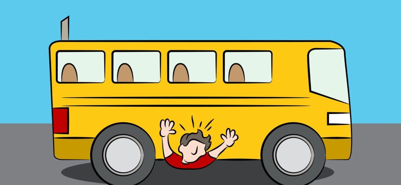 A WJUSD school bus runs over a WEA teacher.