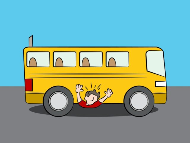 A WJUSD school bus runs over a WEA teacher.